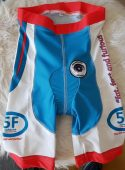 Cutom made branded padded cycle shorts front a